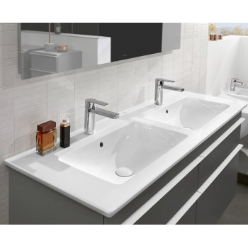 Double vanity washbasin Rectangle Venticello, 4111DL, 1300 x 500 mm