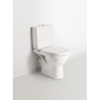 Washdown toilet for close-coupled toilet-suite, rimless Compact Oval O.novo, 5689R0, 360 x 605 mm